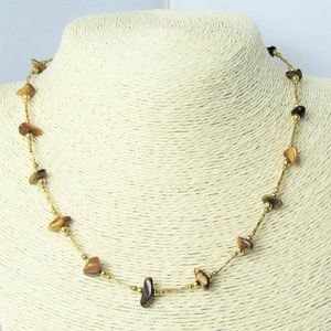 3 for $25 - Tiger's Eye Chip Necklace 17 in